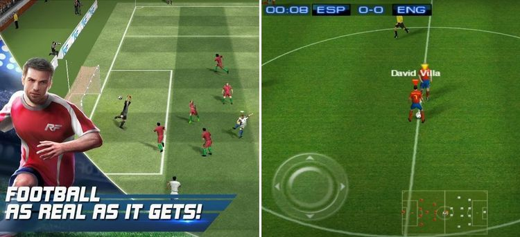Real Football Mod APK gameplay screen