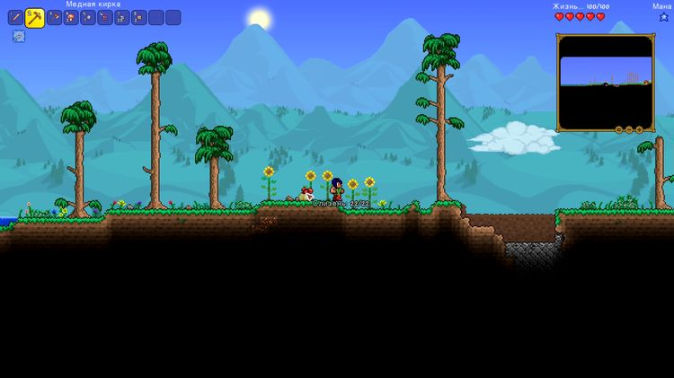 Gameplay screen in Terraria